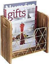 MyGift Contemporary Burnt Wood and Geometric Brass