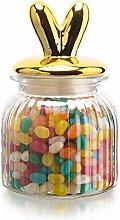 MyGift Glass Cookie/Candy Jar with Decorative Gold