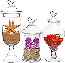 MyGift® Set of 3 Bird Top Handle Design Clear