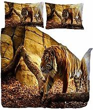 MYLFL Bed Linen 220x230cm Strong Animal Tiger
