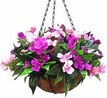 Mynse Set of Hanging Basket Artificial Impatiens