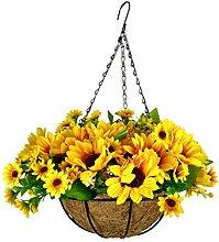 Mynse Silk Sunflowers Artificial Hanging Basket