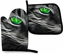 Myrdora Green-Eyed Cat Kitchen Oven Mitts And Pot