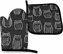Myrdora Night Owl Gray_White Kitchen Oven Mitts