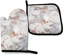 Myrdora Rose Gold Marble Kitchen Oven Mitts And