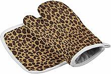 Myrdora Set Of Oven Mitt And Pot Holder, Leopard