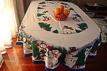 MZPRIDE Cute Snowman Christmas Tablecloth Pine