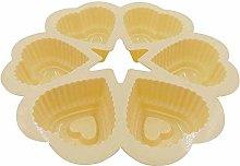 MZXUN Baking Cup Mould 3pcs 6-Cavity Heart Shape
