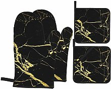MZZhuBao Black Gold Marble Oven Mitts and Pot