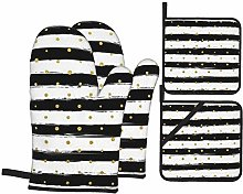MZZhuBao Ink and Gold Dot Stripes Oven Mitts and