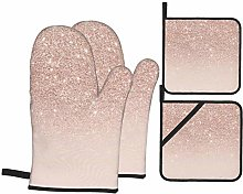 MZZhuBao Rose Gold Wallpaper Oven Mitts and Pot