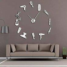 N/A PYIQPL DIY Barber Shop Giant Wall Clock