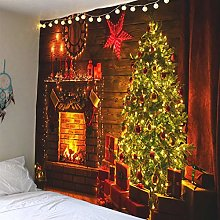 N/A Tapestry 3D Printing Fireplace Tree Tapestry
