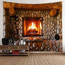 N/A Tapestry 3D Printing Fireplace Wall Tapestry