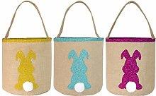 N/A 3 Pcs Easter Eggs Hunt Bags Easter Tote
