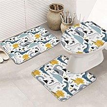 N\A 3-Piece Bath Rug and Mat Sets, Cute Cartoon
