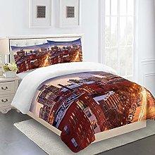 N / A 3D Bedding Set City View 3D Printed