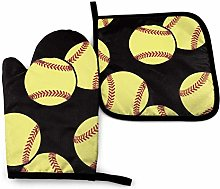 N\A Base Ball Yellow Oven Mitts and Pot Holders