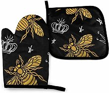N\A Bee Gold Embroidered Oven Mitts and Potholders