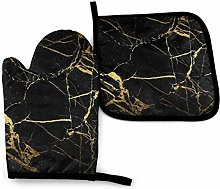 N\A Black and Gold Marble Fabric Oven Mitts and