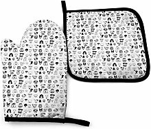 N\A Black and White Dogs Oven Mitt Cooking Gloves