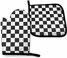 N\A Black and White Racing Check Oven Mitts and