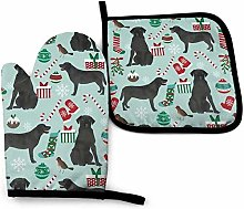 N\A Black Lab Christmas Fabric Cute Labrador Oven