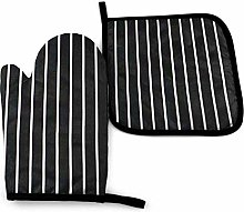 N\A Black White Oven Mitts and Pot Holders Sets,