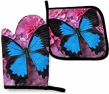 N\A Blue Butterfly Oven Mitts and Pot Holders