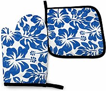 N\A Blue Hibiscus White Background Oven Mitts and
