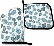 N\A Blue Leaves Oven Mitts and Pot Holders Sets,