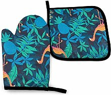 N\A Blue Leaves Style Oven Mitts and Pot Holders