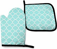 N\A Blue Trellis Oven Mitts and Pot Holders Sets,