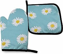 N\A Blue White Flowers Oven Mitts and Pot Holders