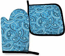 N\A Boho Blue Oven Mitts and Pot Holders Sets,