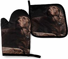 N\A Brown Labrador Retriever Printed Oven Mitts