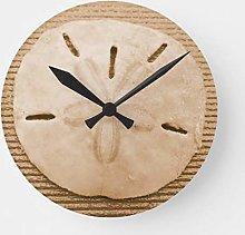 N/ A Brown Sand Dollar Round Clock