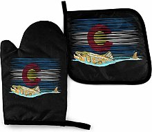 N\A Brown Trout Vintage Colorado Flag Oven Mitts
