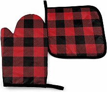 N\A Buffalo Plaid Black and Red Oven Mitt Cooking