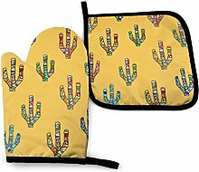 N\A Cactus Yellow Oven Mitts and Pot Holders Sets,