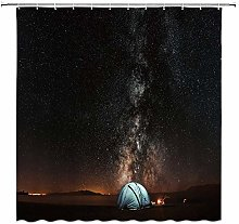 N\A Camping Shower Curtain Decor Tent Campfire
