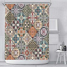 N / A Ceramic tile Printed Shower Curtain