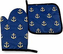 N\A Chic Gold Yellow Anchor Pattern On Dark Navy