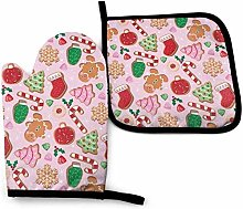 N\A Christmas Cookies Pink Oven Mitt Cooking