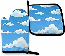 N\A Clouds Blue Oven Mitts and Pot Holders Sets,