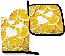 N\A Compact Orange Oven Mitts and Pot Holders