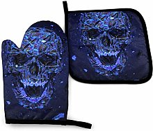 N\A Cool Skull Blue Oven Mitts and Pot Holders