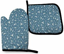 N\A Dark Blue Oven Mitts and Pot Holders Sets,