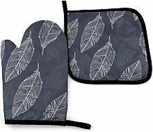 N\A Dark Stripes Marble Oven Mitt Cooking Gloves