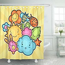 N\A Decorative Shower Curtain Cute Child with